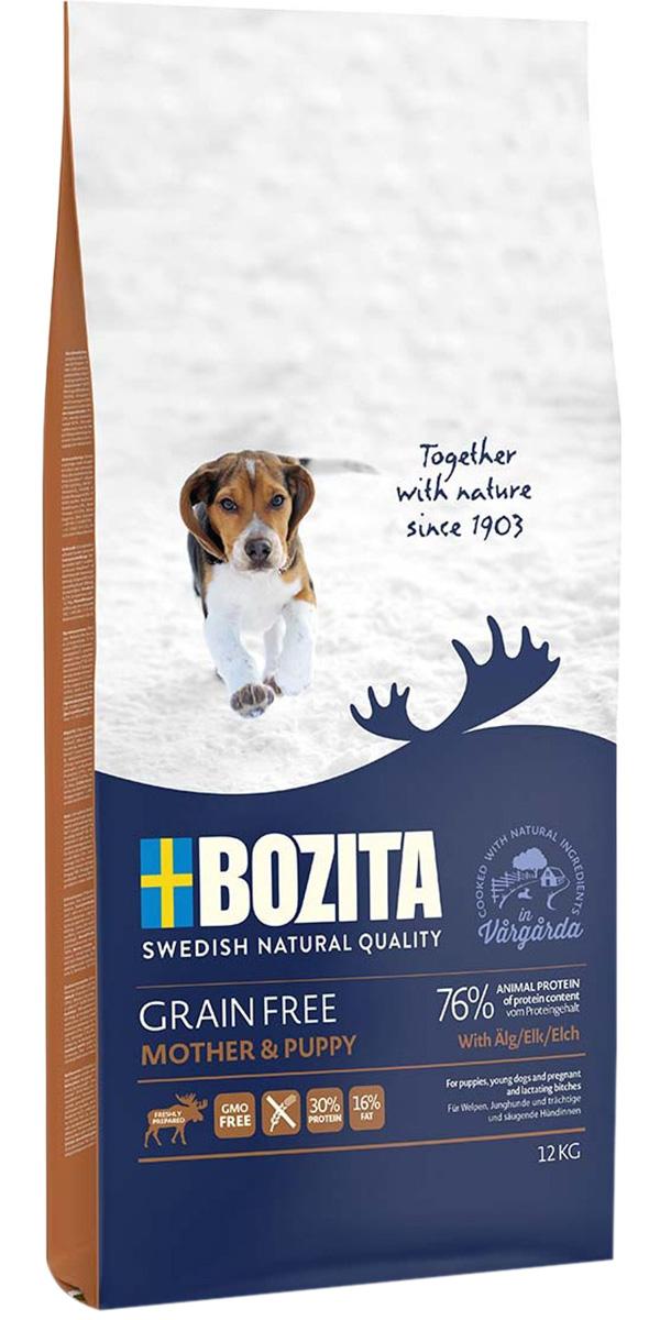 Bozita Grain Free Mother & Puppy Elk беззерновой для щенков всех пород, беременных и кормящих сук с лосем (12 кг)