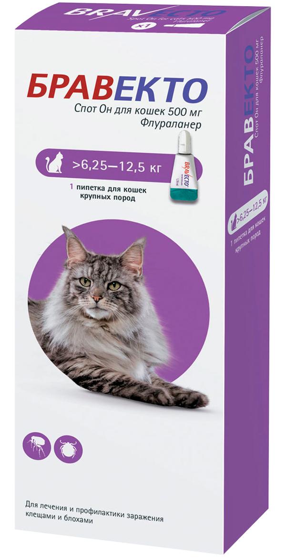 бравекто спот он капли для кошек весом от 6,25 до 12,5 кг против клещей и блох (1 пипетка)