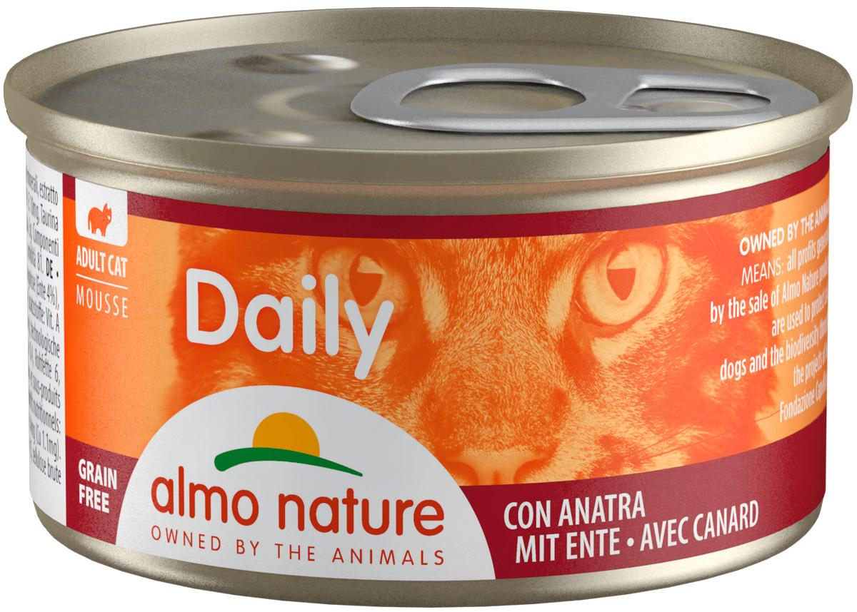 Almo Nature Cat Daily Menu беззерновые для взрослых кошек нежный мусс с уткой  (85 гр х 24 шт).
