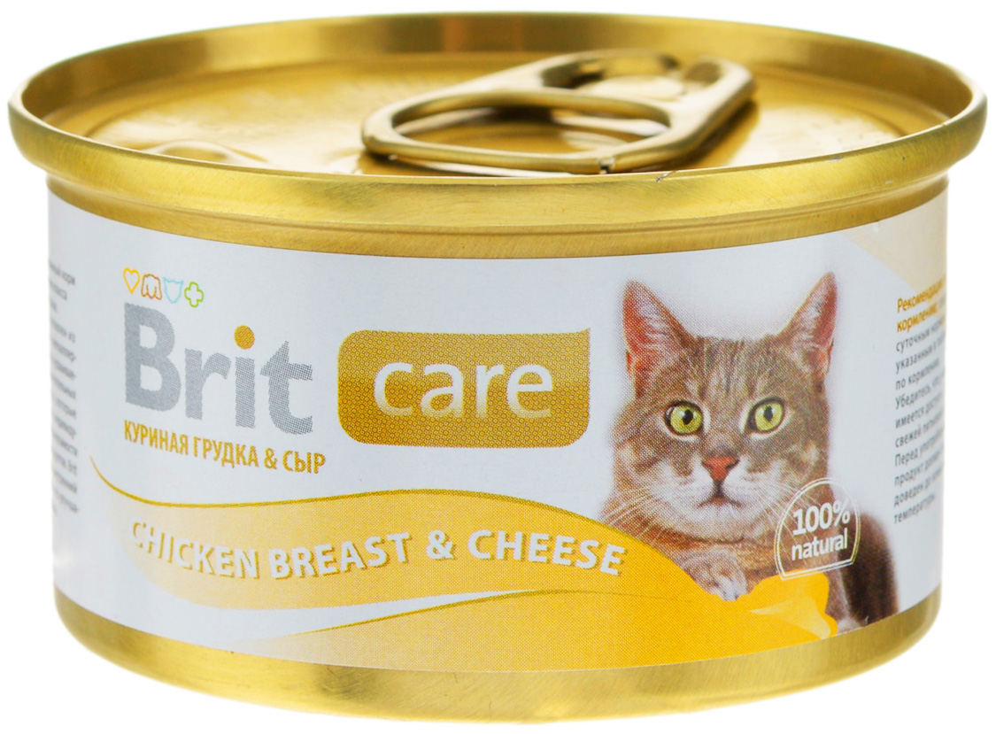 Brit Care Cat Chicken Breast & Cheese для взрослых кошек с куриной грудкой и сыром 80 гр (80 гр х 12 шт) фото