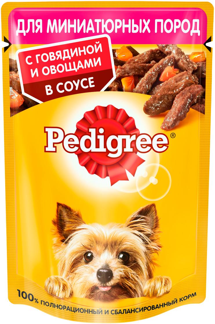 Pedigree для взрослых собак маленьких пород с говядиной и овощами в соусе пауч 85 гр (85 гр х 24 шт)