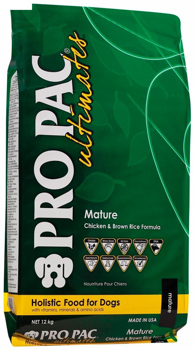 Pro Pac Ultimates Mature Chicken Meal & Brown Rice для пожилых собак всех пород с курицей и рисом (12 кг)
