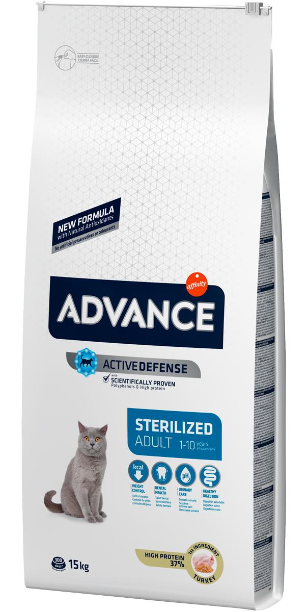 Advance Adult Sterilized Turkey & Barley для взрослых кастрированных котов и стерилизованных кошек с индейкой и ячменем (15 + 15 кг)