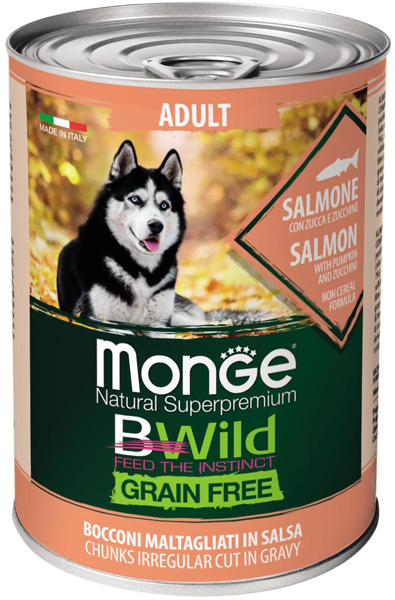 Monge Adult Dog Bwild Grainfree беззерновые для взрослых собак с лососем, тыквой и кабачками 400 гр (400 гр х 24 шт)