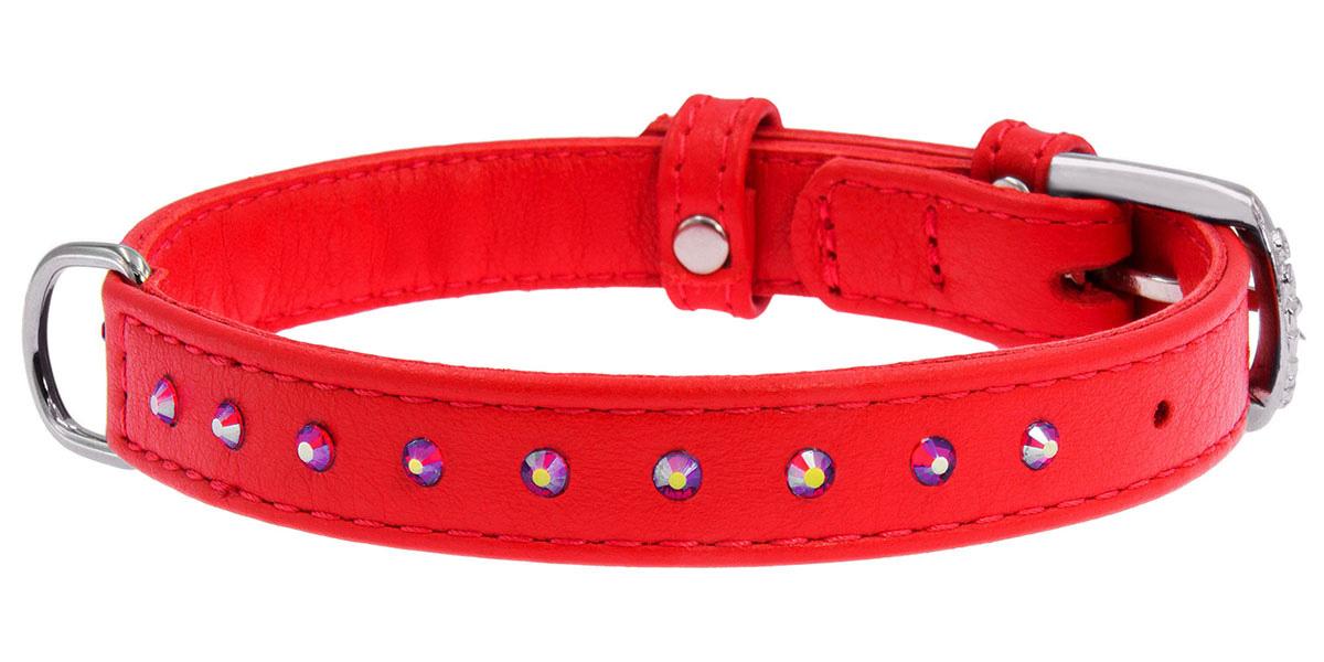 Ошейник кожаный для собак с клеевыми стразами красный 12 мм 21 - 29 см Collar WauDog Glamour (1 шт) ошейник collar glamour с клеевыми стразами цветочек ширина 12мм длина 21 29см лайм для собак 32695