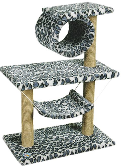 Комплекс для кошек двухэтажный с трубой и гамаком Зооник цветной мех 70 х 40 х 90 см (1 шт)