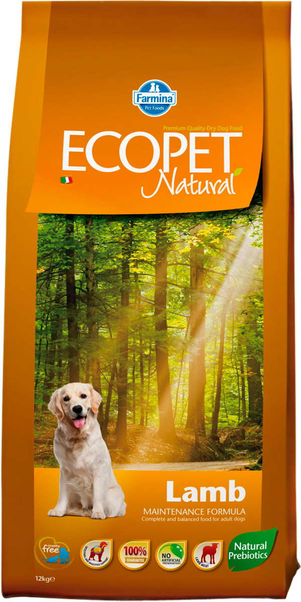 Ecopet Natural Adult Medium Lamb для взрослых собак средних пород с чувствительным пищеварением с ягненком (12 кг)