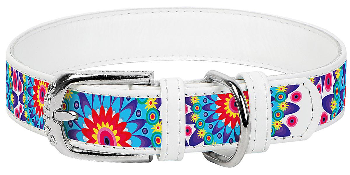 Ошейник кожаный для собак Цветы белый 20 мм 30 – 39 см Collar WauDog (1 шт) фото