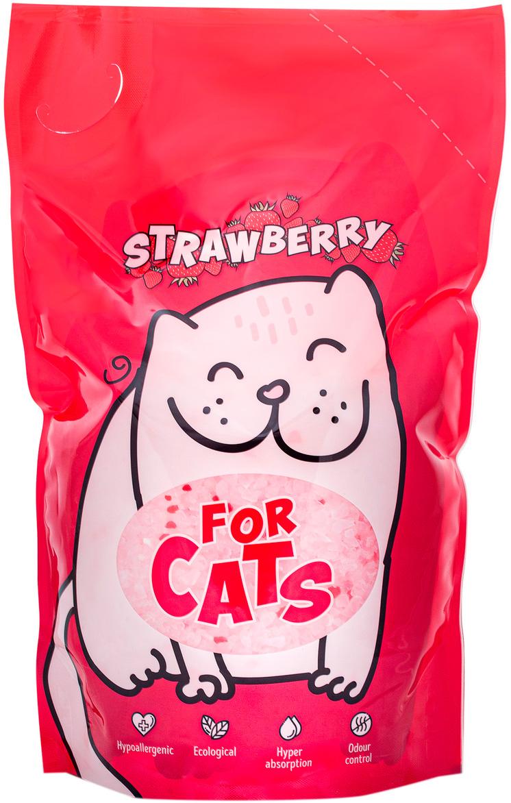 For Cats наполнитель силикагелевый для туалета кошек с ароматом клубники (8 л) for cats наполнитель силикагелевый для туалета кошек с ароматом зеленого чая 8 л