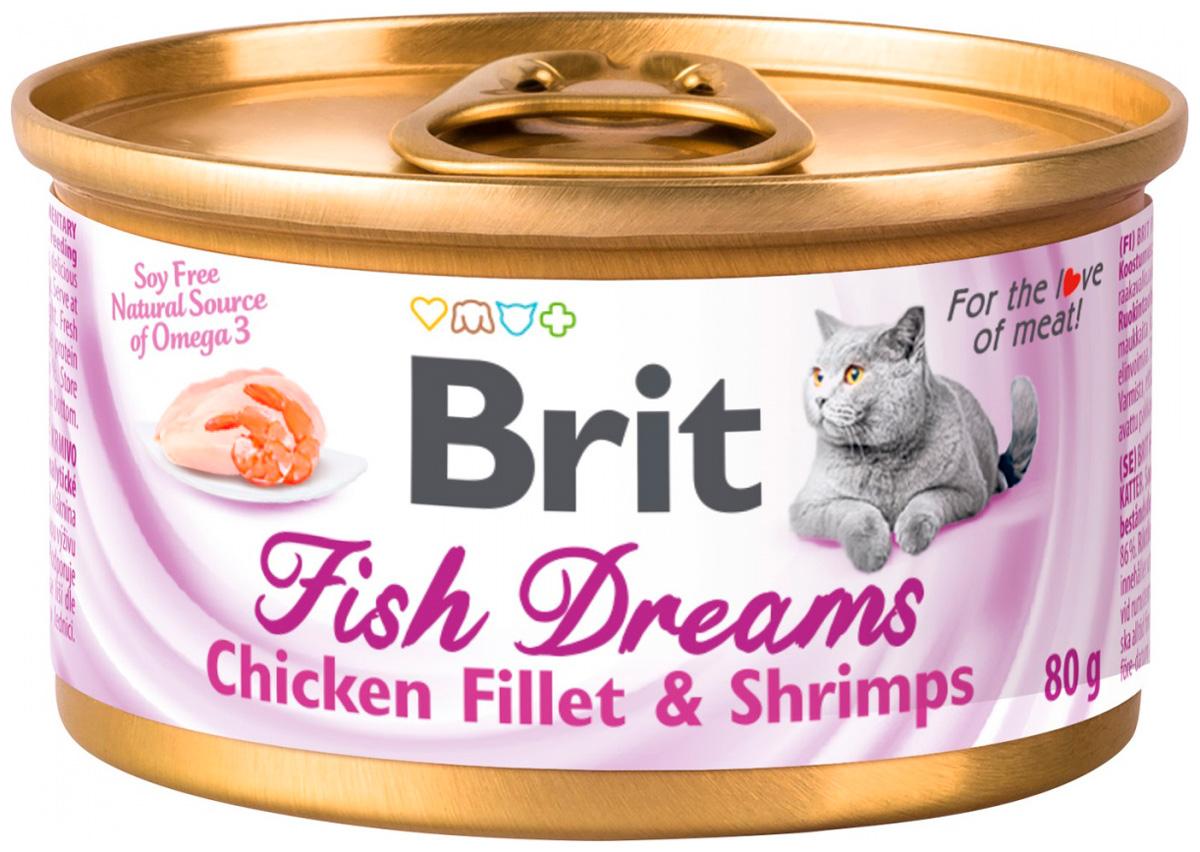 Brit Care Fish Dreams для взрослых кошек с куриным филе и креветками 80 гр (80 гр х 12 шт)