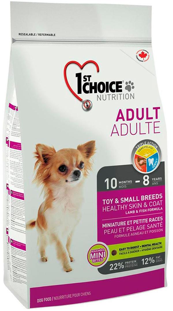 1st Choice Dog Adult Toy & Small Breeds Healthy Skin & Coat для взрослых собак маленьких пород при аллергии с ягненком, рыбой и рисом (7 кг)