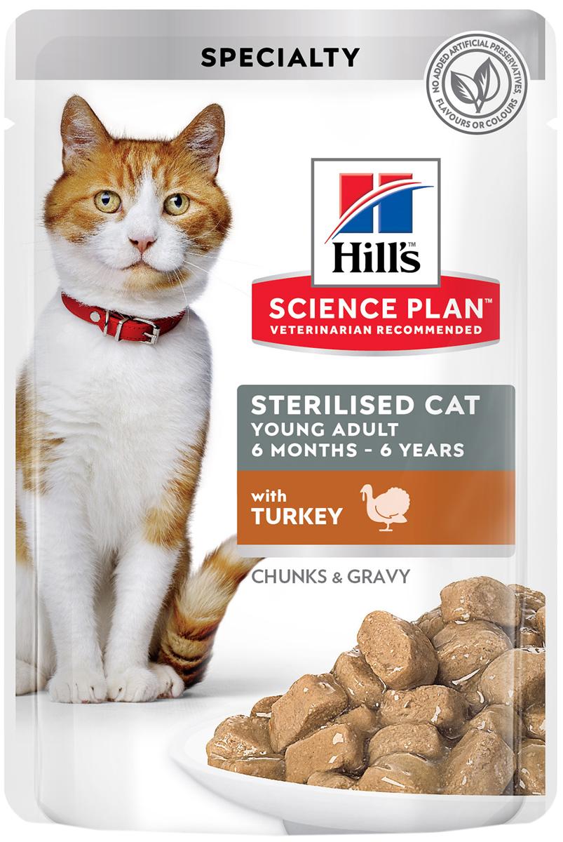 Hill's Science Plan Young Adult Sterilised Cat Turkey для взрослых кастрированных котов и стерилизованных кошек с индейкой в соусе (85 гр) hill's science plan young adult sterilised cat salmon для взрослых кастрированных котов и стерилизованных кошек с лососем в соусе 85 гр