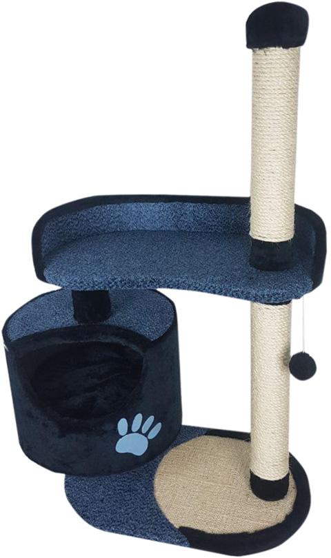 Комплекс для кошек с круглым домом, большой лежанкой и подушкой Зооник синий велюр 82 х 43 х 121 см (1 шт)