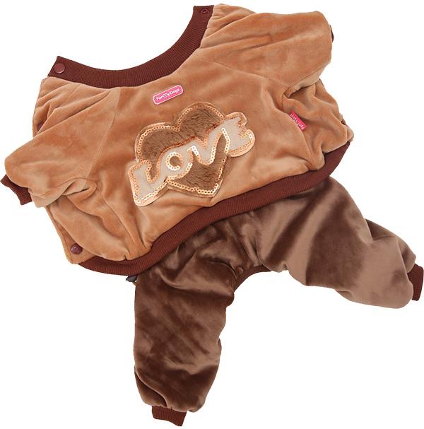For My Dogs костюм для собак велюр коричневый Fw815-2019 (10Chh)
