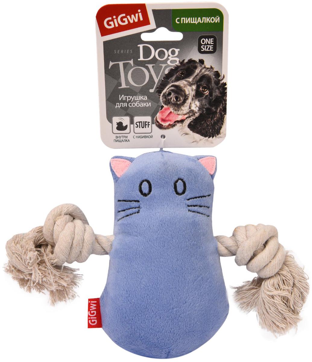 Игрушка для собак GiGwi Кот с пищалкой 15 см (1 шт)