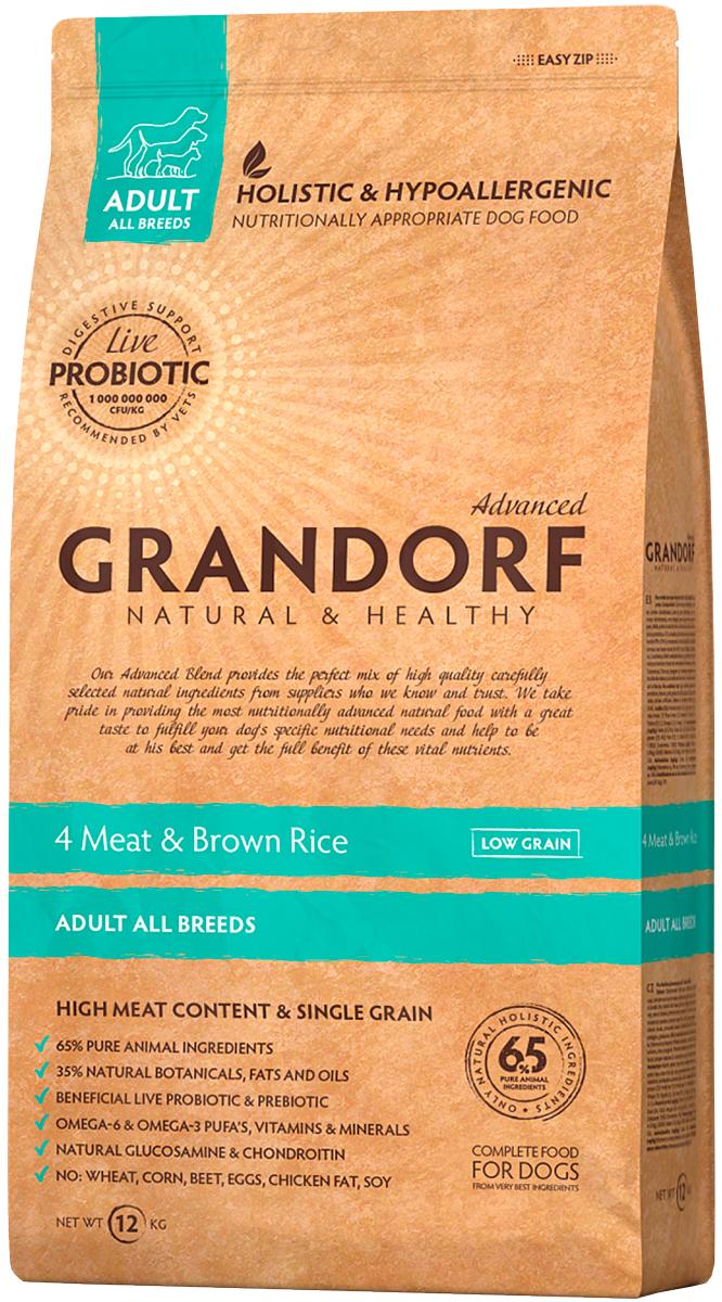 Grandorf Adult All Breeds Living Probiotics 4 Meat & Brown Rice для взрослых собак всех пород низкозерновой с мясом и коричневым рисом (3 кг) фото