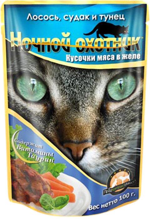 ночной охотник для взрослых кошек с лососем, судаком и тунцом в желе 100 гр (100 гр х 24 шт)