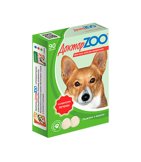 доктор Zoo мультивитаминное лакомство для собак со вкусом печени и биотином (90 таблеток)