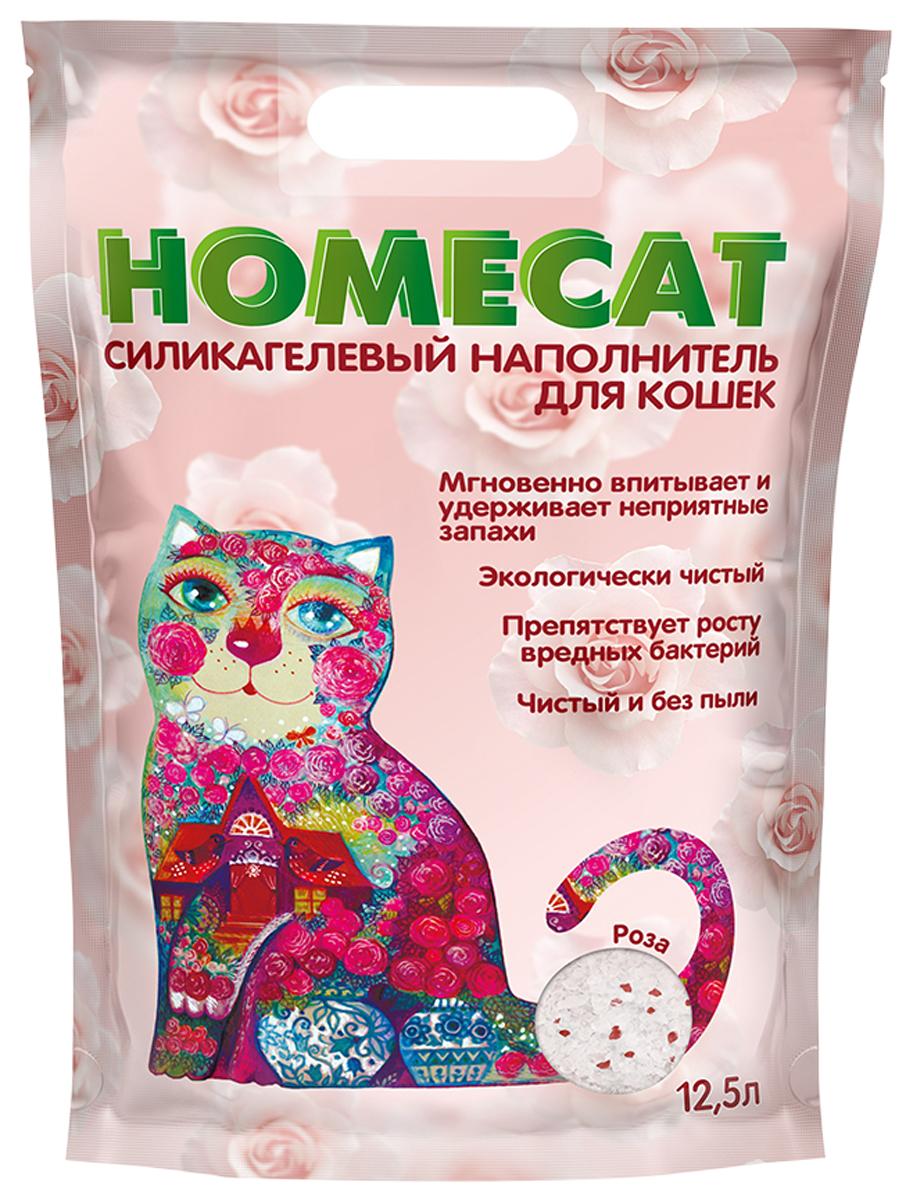 Homecat роза наполнитель силикагелевый для туалета кошек (12,5 + 12,5 л)