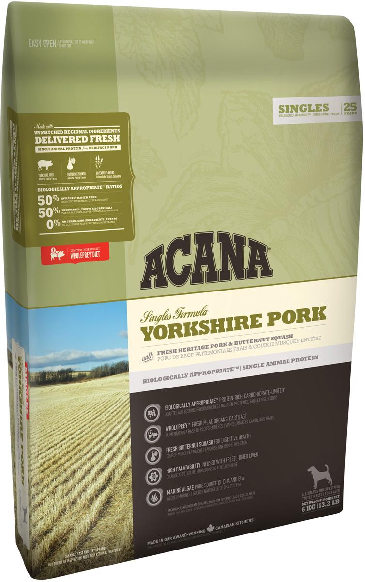 Acana Singles Yorkshire Pork монобелковый для собак и щенков всех пород со свининой (11,4 кг)