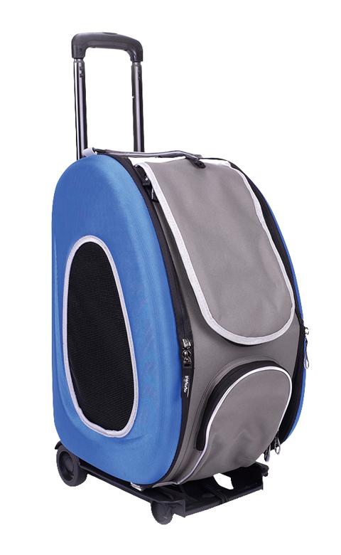 Сумка-тележка складная 3 в 1 для животных до 8 кг (сумка, рюкзак, тележка) синяя Ibiyaya (1 шт)