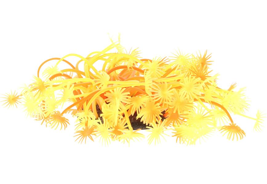 Декор для аквариума Коралл силиконовый Vitality желто-красный 7,5 х 10 см (1 шт)