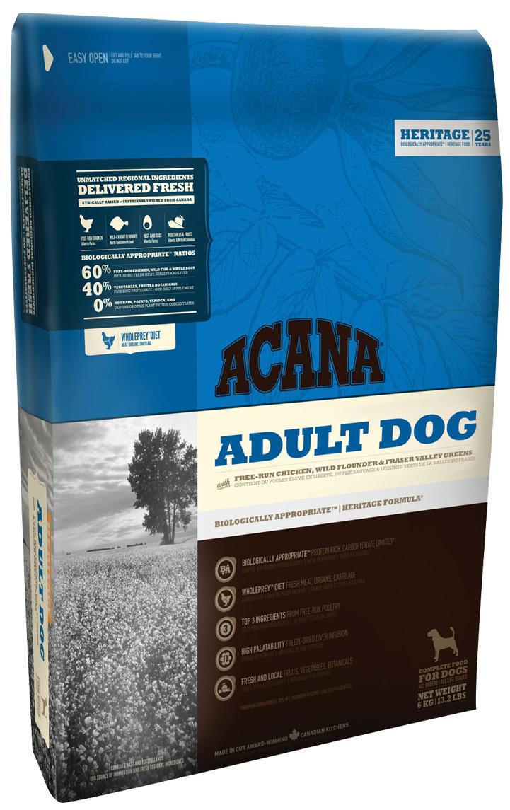 Acana Adult Dog для взрослых собак всех пород с цыпленком и зеленью (6 кг)