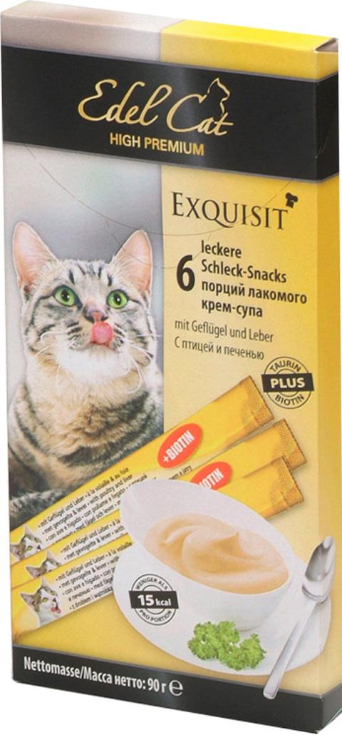 Лакомство Edel Cat для кошек крем-суп для кожи и шерсти с птицей и печенью (6 шт)