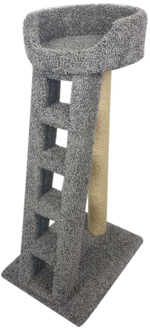 Когтеточка Лежанка с лестницей Пушок ковролин серая (1 шт) фото