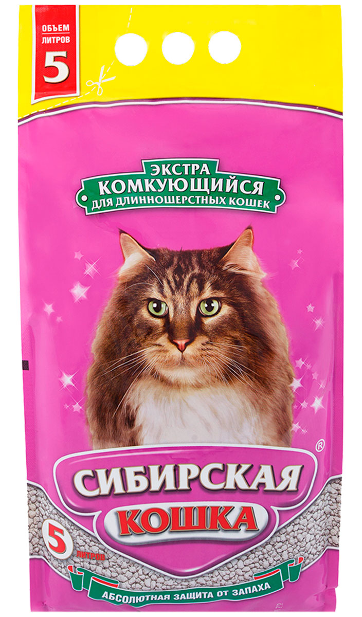 Фото - сибирская кошка экстра наполнитель комкующийся для длинношерстных кошек (5 л) комкующийся наполнитель цап царап антимикробный 5 л