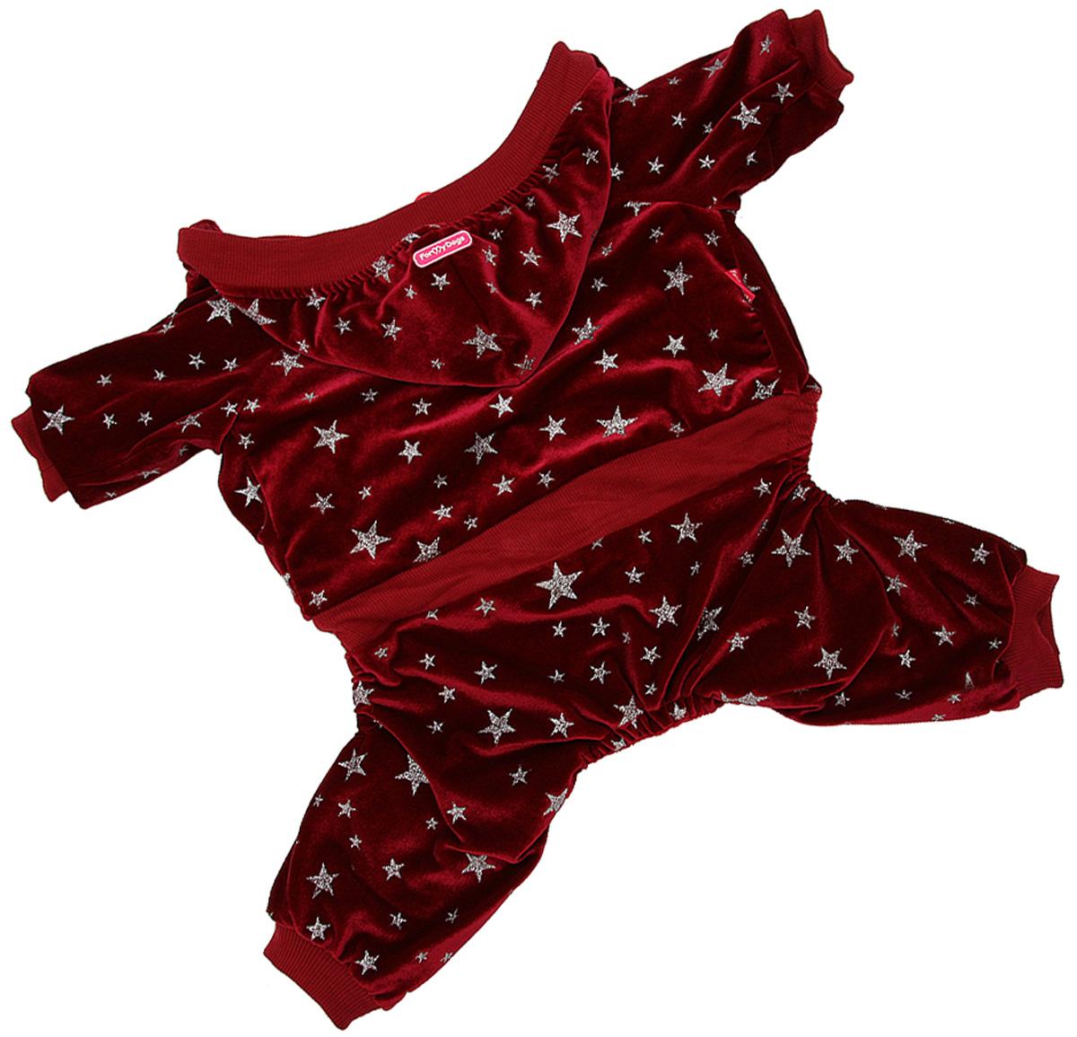 For My Dogs костюм для собак утепленный велюр бордовый Fw915-2020  (10)