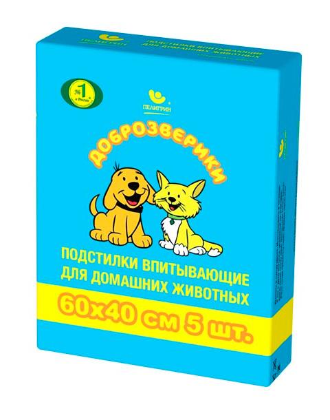 доброзверики Super пеленки впитывающие для животных 40 х 60 см (5 шт)