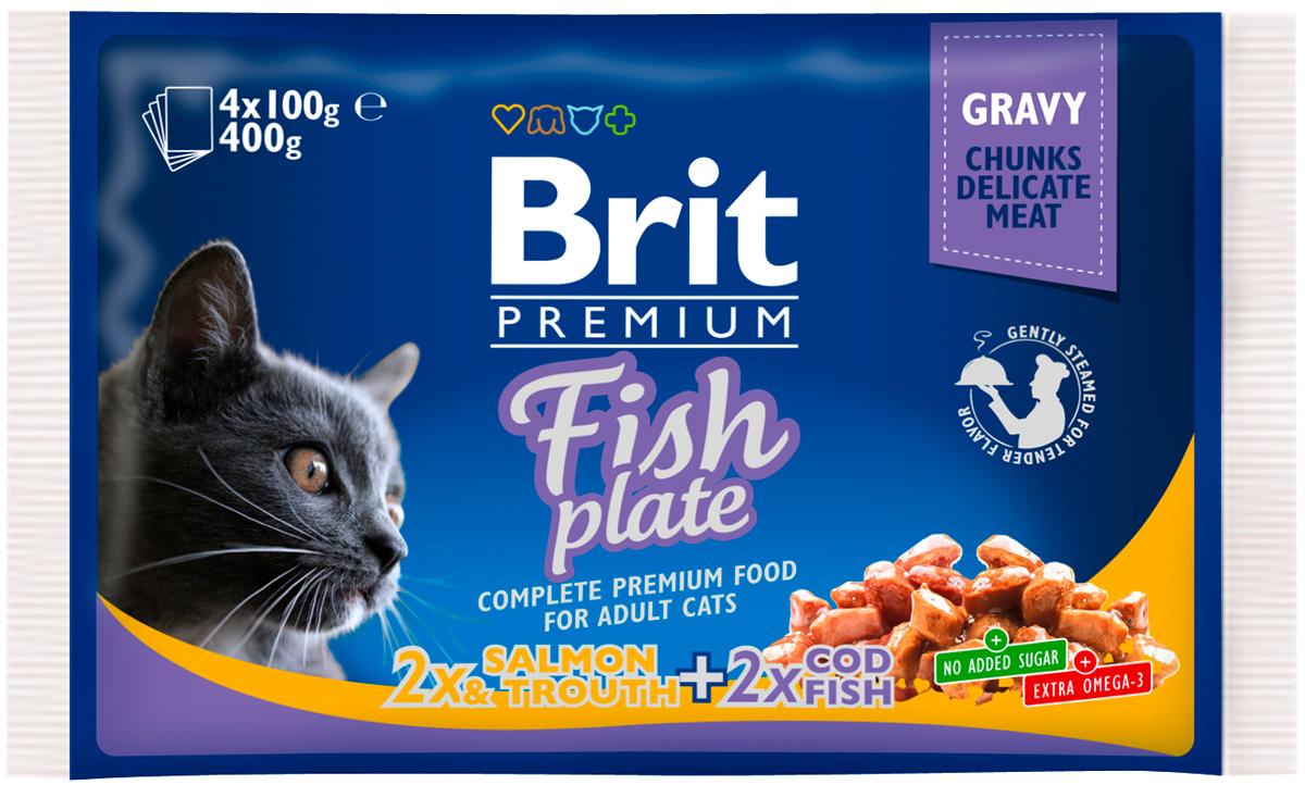 Brit Premium Cat Fish Plate для взрослых кошек рыбная тарелка 100 гр (4 х 100 гр)