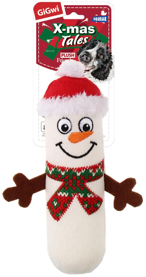 Игрушка для собак GiGwi X-mas Tales Снеговик с пищалкой маленький 18 см (1 шт) фото