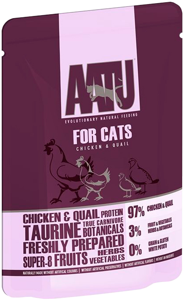 Aatu Cat Chicken & Quail беззерновые для взрослых кошек с курицей и перепелом 85 гр (85 гр)