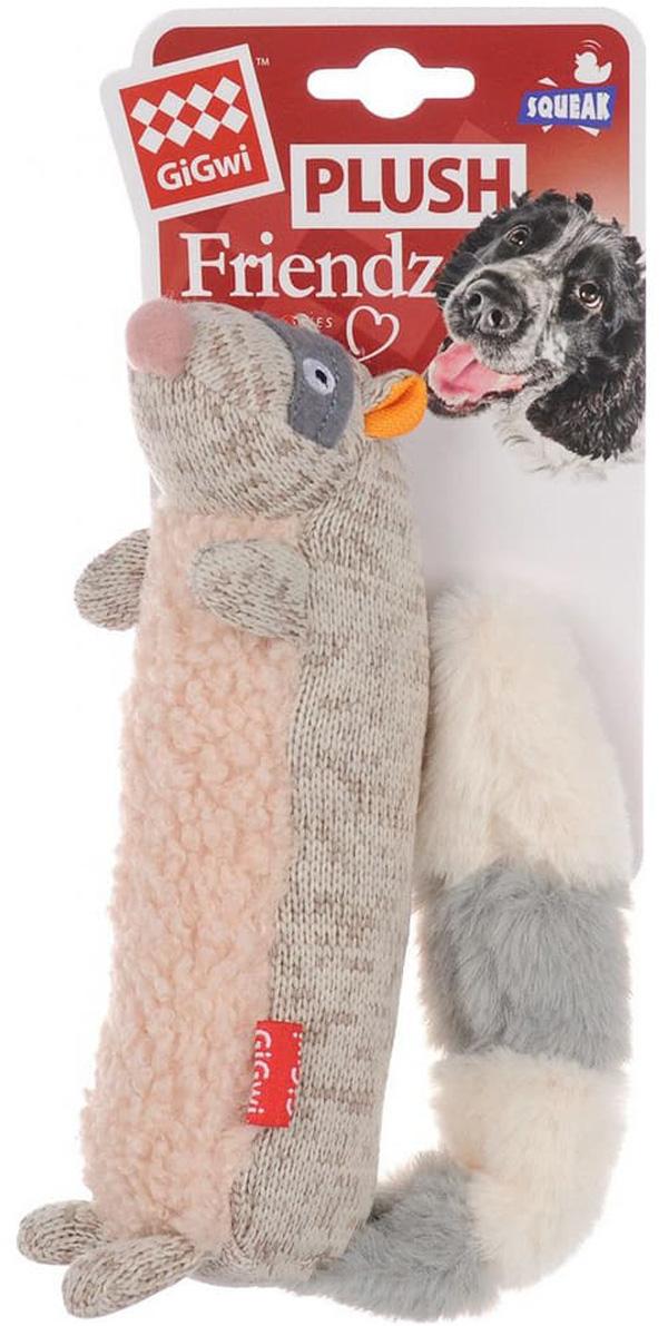 Игрушка для собак GiGwi Plush Friendz Енот с пищалкой 17 см (1 шт)