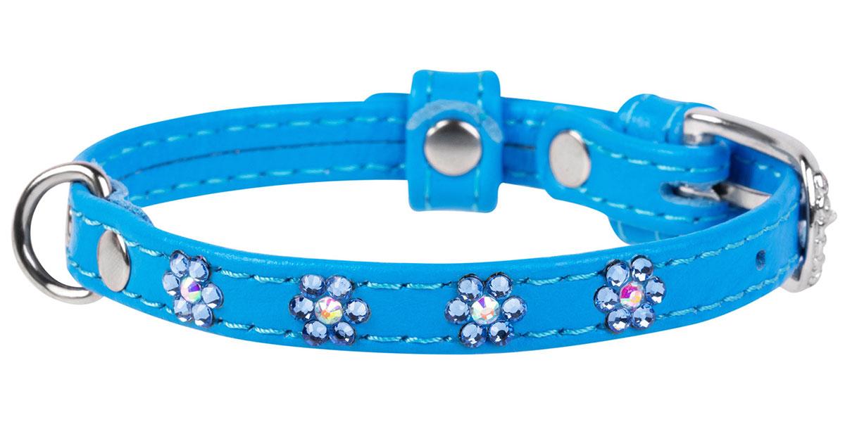 Ошейник кожаный для собак с клеевыми стразами Цветочек синий 12 мм 21 - 29 см Collar WauDog Glamour (1 шт) ошейник collar glamour с клеевыми стразами цветочек ширина 12мм длина 21 29см лайм для собак 32695