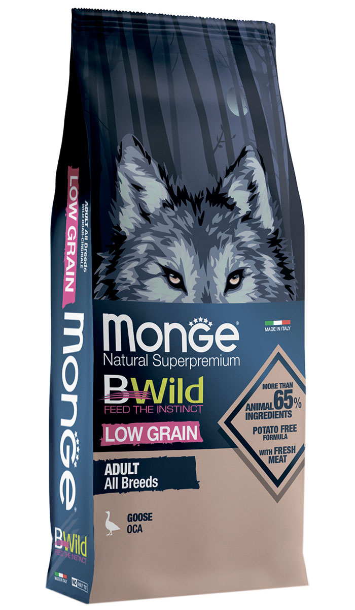 Monge Bwild Low Grain Dog Adult All Breeds низкозерновой для взрослых собак всех пород с гусем (12 + 12 кг)
