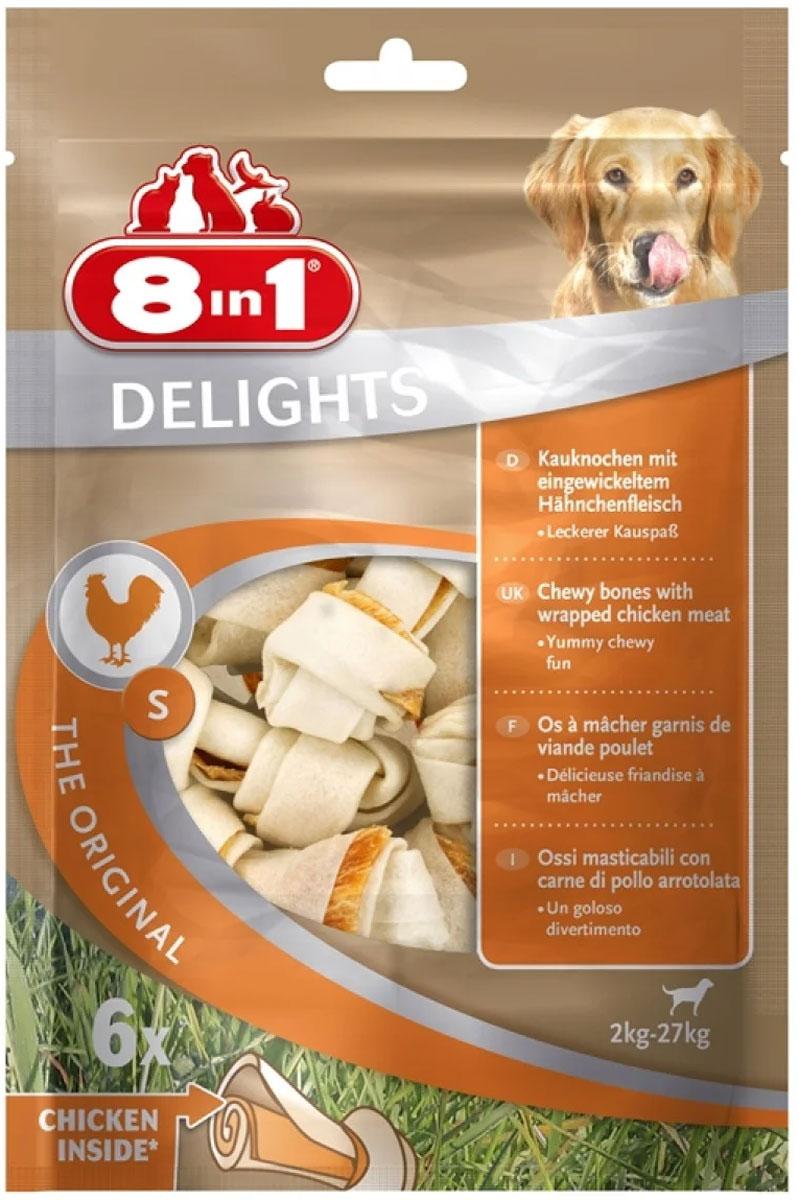 Лакомство 8 In 1 Delights S для собак маленьких и средних пород косточки с куриным мясом 11 см (6 шт) (1 уп)