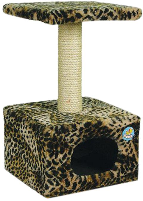 Дом для кошек большой Зооник цветной мех 42 х 42 х 72 см (1 шт)