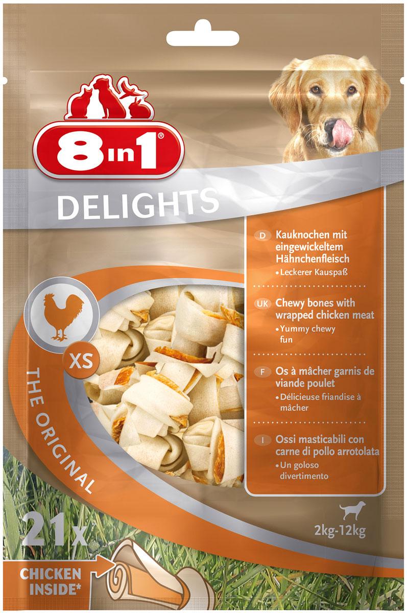 Лакомство 8 In 1 Delights Xs для собак маленьких пород косточки с куриным мясом 7,5 см (21 шт) (1 уп)