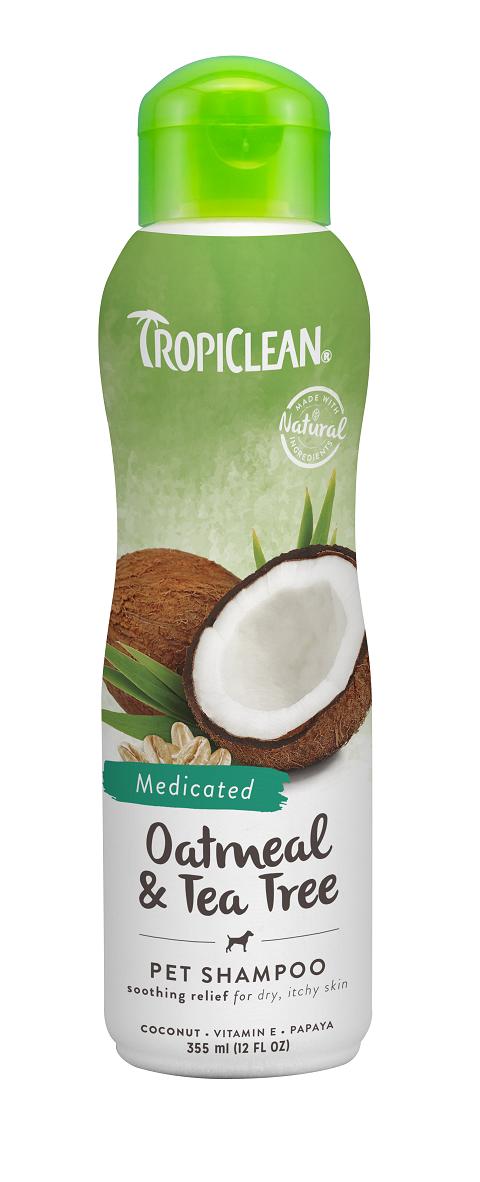 Tropiclean Shampoo Medicated Oatmeal  Tea Tree – Тропиклин шампунь для собак и кошек лечебный от зуда и перхоти Овсяный с маслом чайного дерева (355 мл).