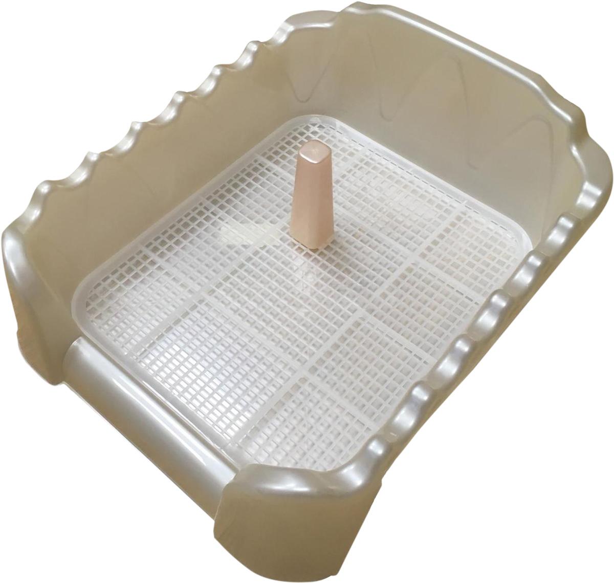 Туалет для собак со столбиком бежевый перламутр 60 х 40 см Homepet (1 шт) туалет для собак v i pet японский стиль со столбиком цвет серый молочный 48 см х 35 см х 5 см