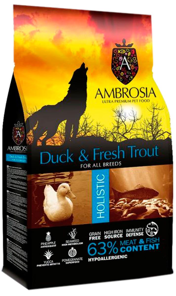 Ambrosia Dog Adult Duck & Fresh Trout беззерновой для взрослых собак всех пород с уткой и форелью (12 кг)