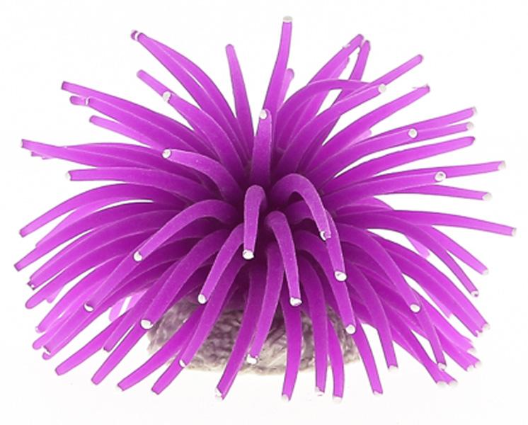 Декор для аквариума Коралл силиконовый Vitality на керамической основе фиолетовый 4,5 х 4,5 х 4 см (1 шт)