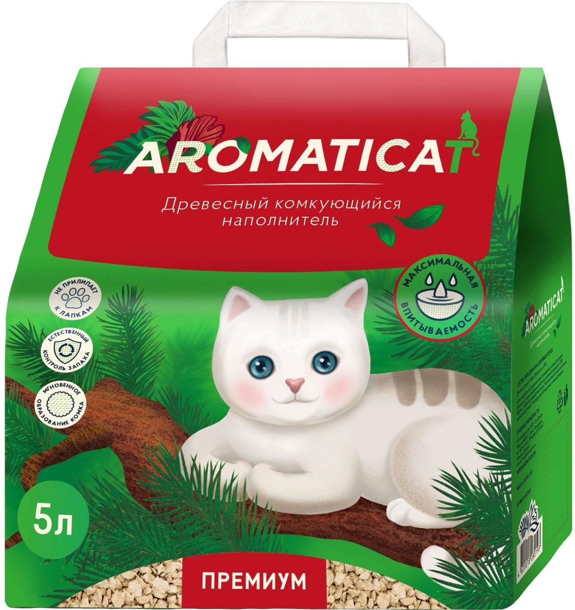 цена на Aromaticat Premium наполнитель древесный комкующийся для туалета кошек (5 л)