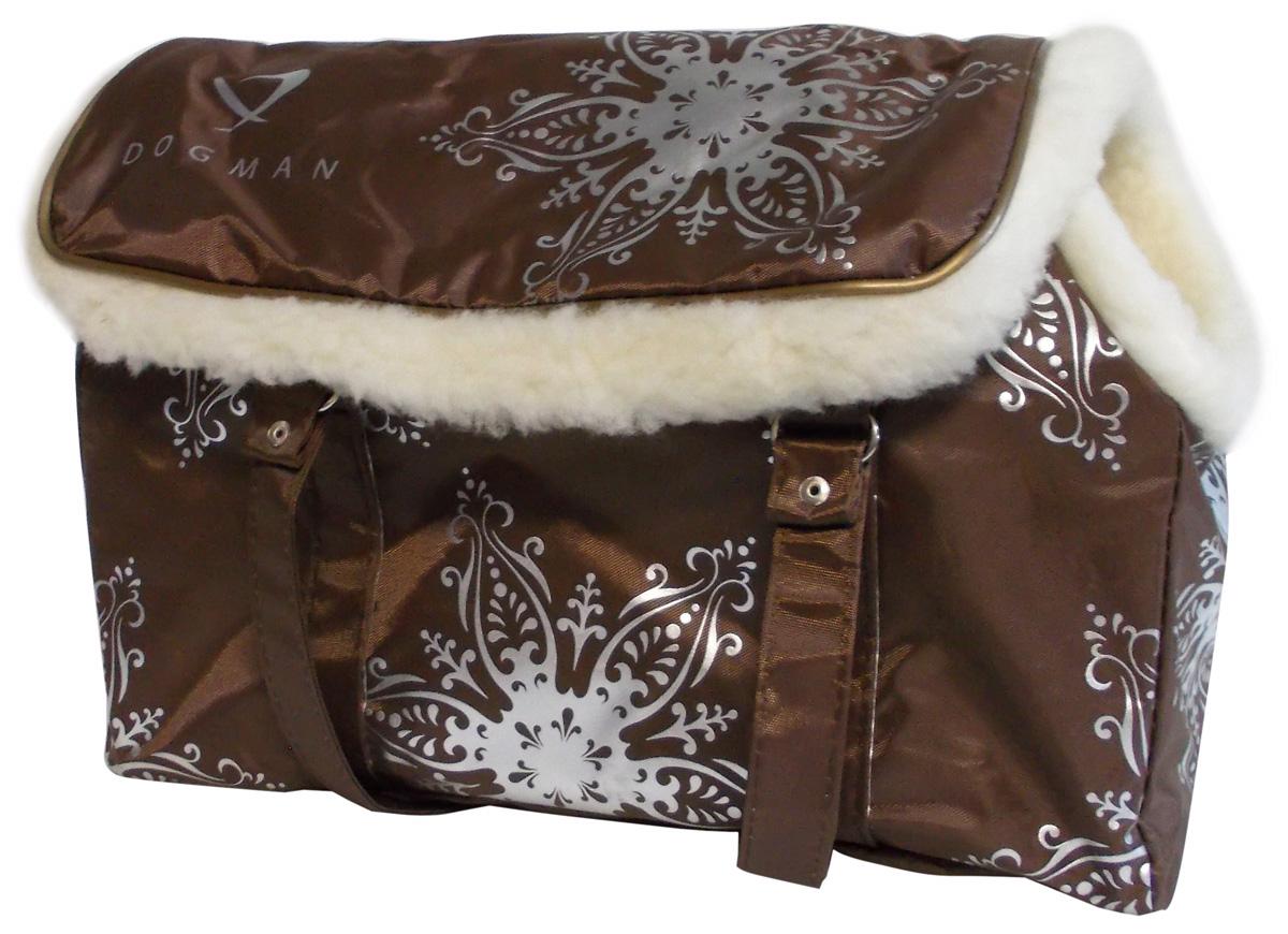 Dogman сумка-переноска модельная № 8м, зима, иск. мех, коричневая, 38 х 18 х 25 см (1 шт)