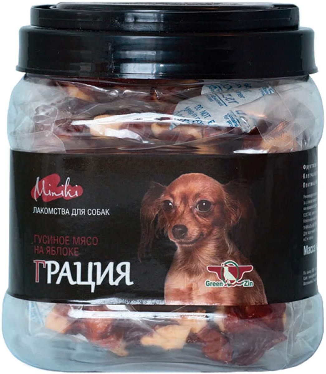 Лакомство Green Qzin Miniki Грация для собак маленьких пород мясо гусиное сушеное на яблоке 360 гр (1 шт)