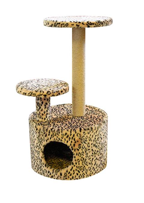 Домик Круглый со ступенькой Пушок мех бежевый леопард (1 шт)