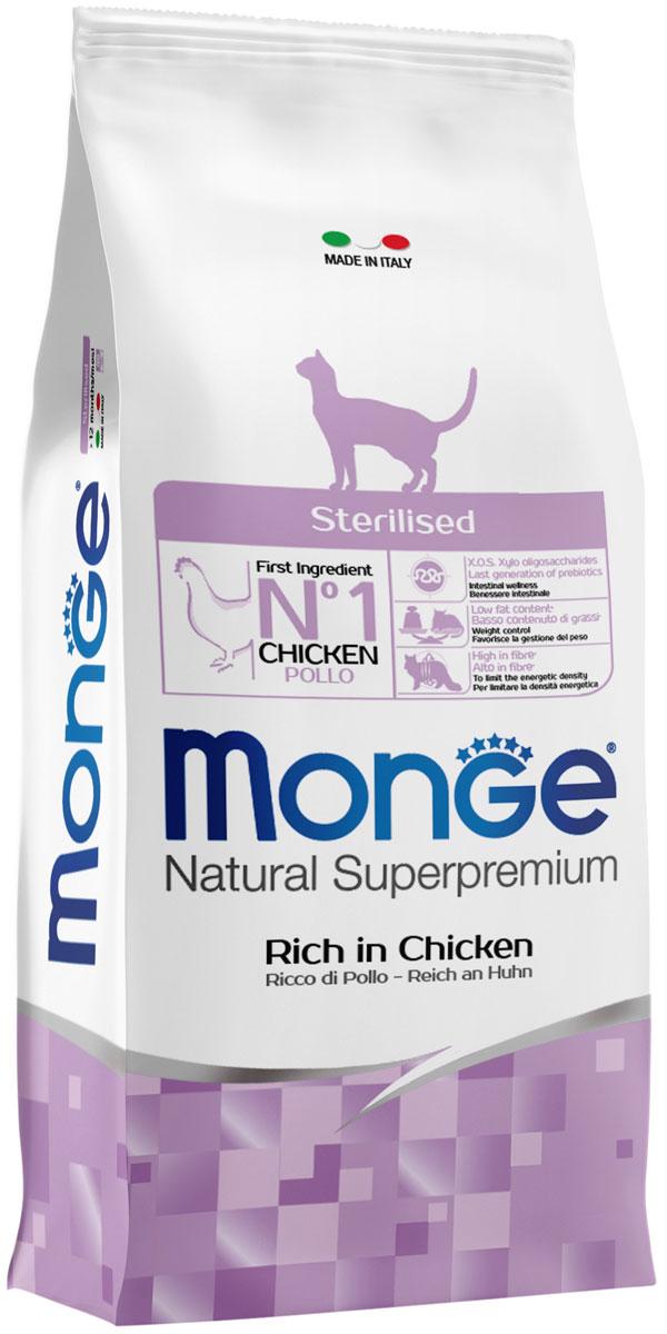 Monge Cat Sterilised для взрослых кастрированных котов и стерилизованных кошек с курицей (1,5 кг)